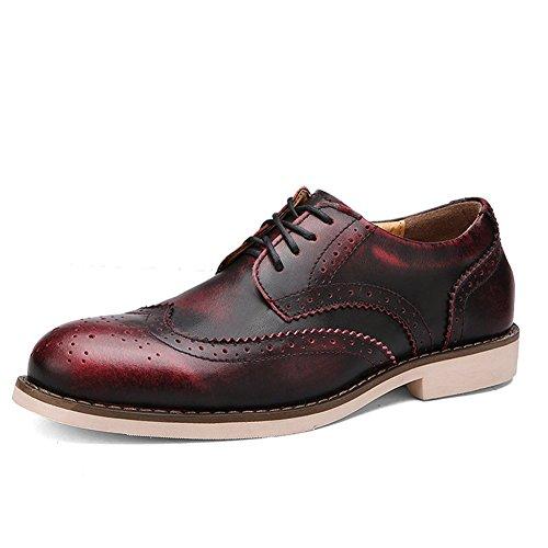 Rismart Men's Genuine Leather Suit Shoes Popular Oxfords Brogue Shoes