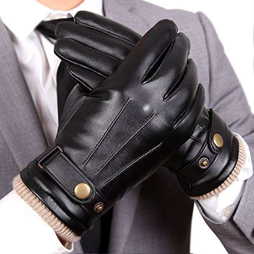 WARMEN Mens Touchscreen Texting Winter PU Faux Leather Gloves Driving Long Fleece Lining Black – Wool/Cashmere Blend Cuff