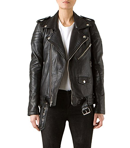 Exemplar Women's Genuine Lambskin Leather Moto Jacket Black LL877