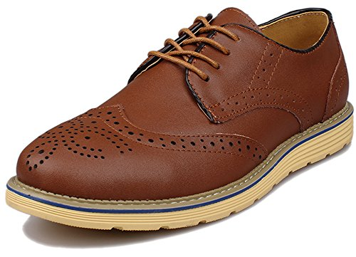 Kunsto Men's Leather Brogue Oxford Dress Shoes Lace Up