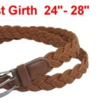 Lady Brown Single Prong Buckle Braided Faux Leather Waist Belt