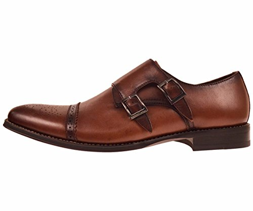 Asher Green Mens Brown Genuine Leather Classic Double Monk Strap Dress Shoe with Cap Toe: Style Stowe Brown-028