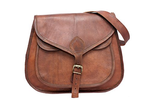 Phoenix Craft Women's Leather Purse Crossbody Gypsy Shoulder Travel Tote bag Inches Brown