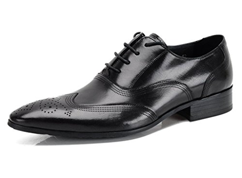 DeliverSmile Mens Cowhide Genuine Leather Lace-up Wing Tip Oxford Shoes