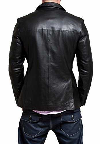 Royal Outfit Genuine Lambskin Leather Casual Blazer Coat – Black