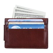 Banuce Genuine Leather Front Pocket Multi-Card Wallet with Magnetic Clip