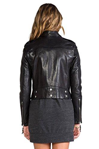 KBN Leather Women's Genuine Lambskin Leather Biker Bomber Jacket