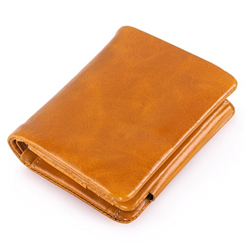 AINIMOER Women's Mini Compact Genuine Leather Trifold Small Wallet with Zipper Pocket