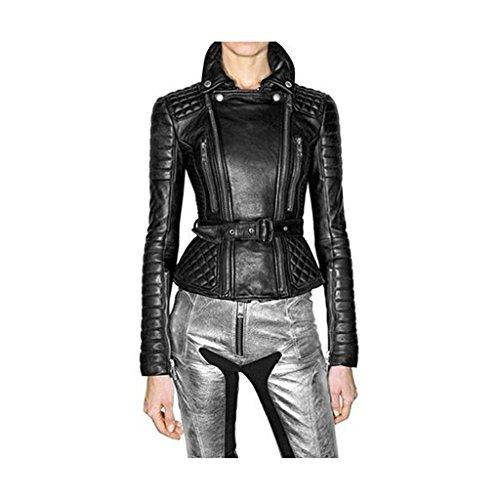 Napa Lambskin Women's Leather Bomber Biker Jacket Black