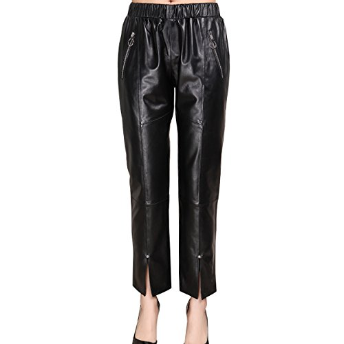 Humiture modern Lady's Leather Pants genuine Sheepskin Leather Pants 5525