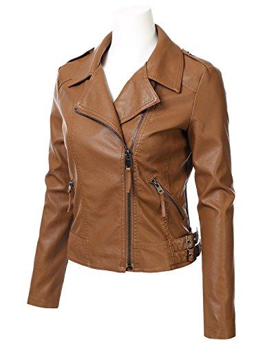 FLORIA Women Faux Leather Jacket w/ Zipper Closure (6 Colors Available)