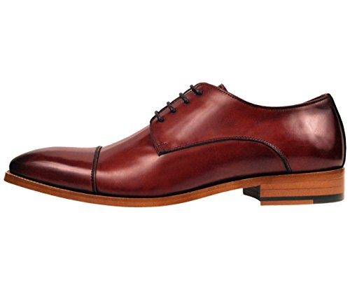 Asher Green Mens Burgundy Genuine Leather Cap Toe Lace Up Oxford Dress Shoe with Wood Sole: AG3887-175