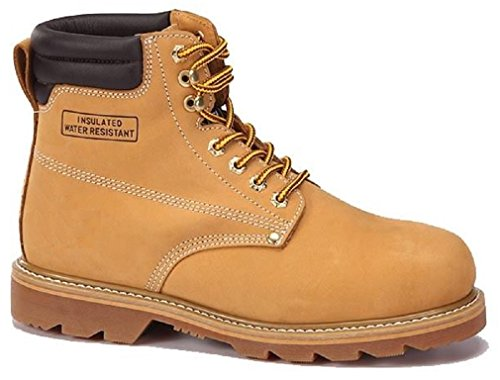 Men's Construction Steel Toe Boots Genuine Leather Short Engineer, Insulated and water Resistant Wheat Nubuck shoes Sizes 6-13