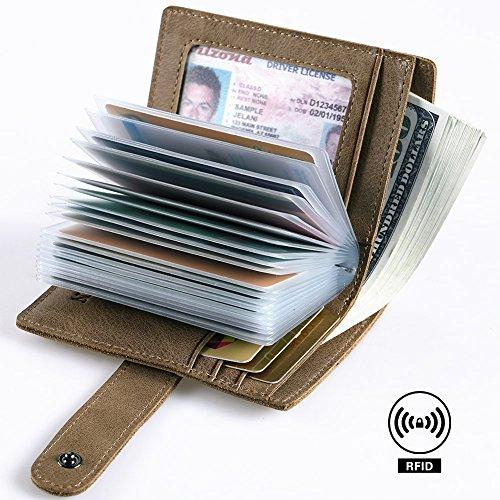 RFID Blocking Leather Business Card Holder for men 20 Credit Card Slots Vintage
