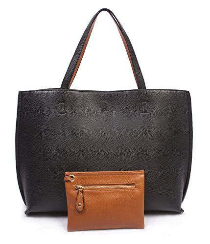Overbrooke Reversible Tote Bag – Vegan Leather Womens Shoulder Tote with Wristlet