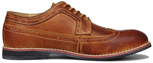 PhiFA Men's Distressed Genuine Leather Wingtips Oxfords Lace-ups