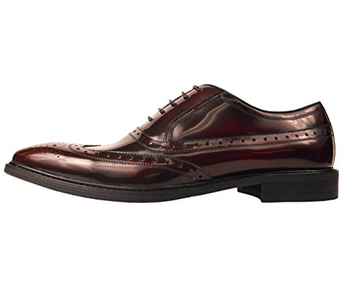 Asher Green Mens Classic Burgundy Genuine Box Calf Leather Wingtip Oxford Dress Shoe: Style AG7327-175