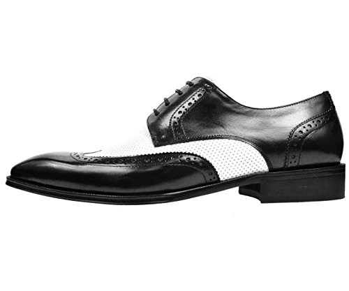 Asher Green Mens Classic Two Tone Black / White Genuine Leather Wingtip Oxford Dress Shoe: AG3027-473
