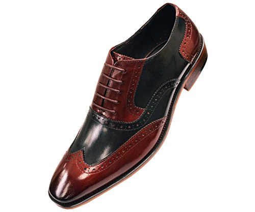 Asher Green Mens Two Tone Black and Burgundy Genuine Leather Wingtip Oxford Dress Shoe : AG100-175