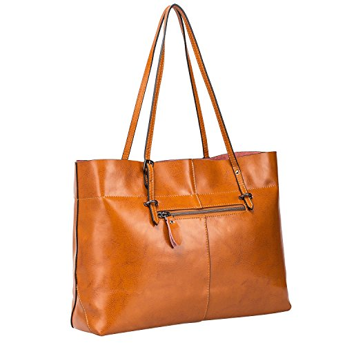 b12332ea77e1 S-ZONE Women s Vintage Genuine Leather Tote Shoulder Bag Handbag ...