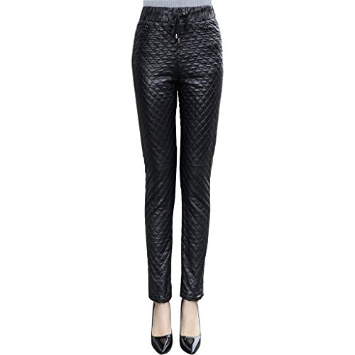 Humiture modern Lady's Leather Pants genuine Sheepskin Leather Elegent Pants