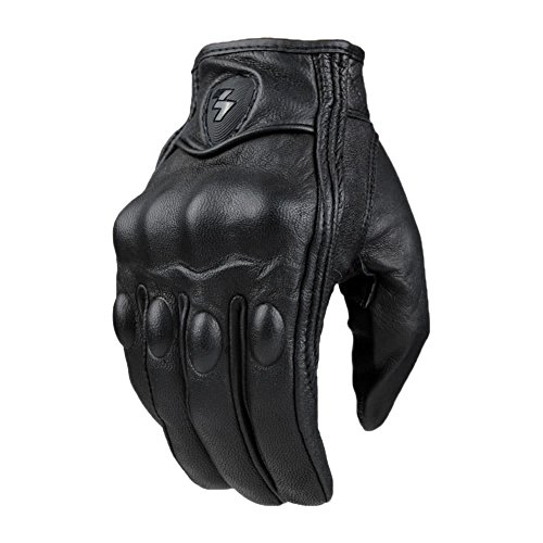 Mens Real Leather Full Finger Black Motorcycle Gloves Wear Protective Gears