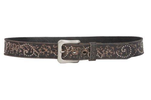 Snap On 1 1/2″ Vintage Cowhide Leather Floral Embossed Studded Belt