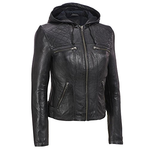 Zohran Women's Cow Milled Leather Motorcycle Bomber Biker Jacket With Hood WJKT113