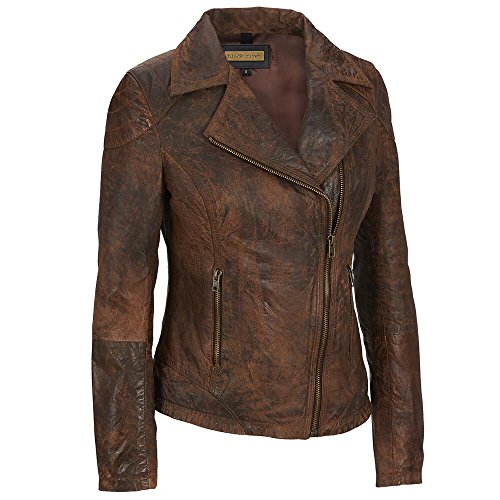 Black Rivet Womens Asymmetric Buffed Antique Cycle Jacket
