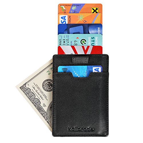 Slim Mens Sleeve Front Pocket Wallet Made from Genuine Leather including RFID Blocking Security with Thin Minimalist Style – Ultra Skinny Credit Card Holder Design by Kalibrado