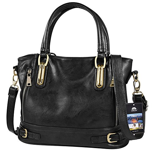 Vbiger Leather Handbags For Women Large Capacity Zipper Tote Bag