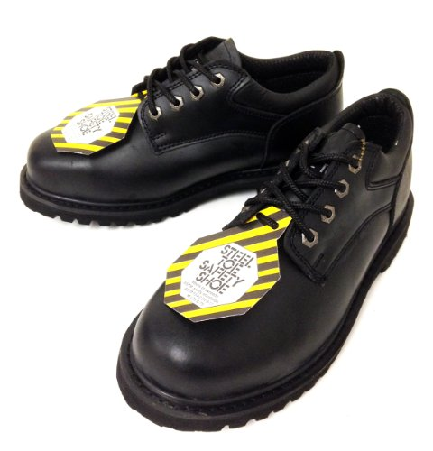 Z-7426 Men's Steel Toe Work Boots Black Leather 4″ Oxfords Oil Resistant Shoes Width: Wide (W or 2E)