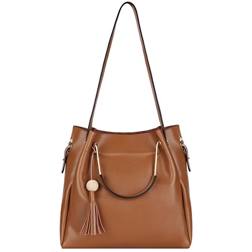 S-ZONE 3-Way Women Genuine Leather Top-handles Handbag Tote Bag with Long Shoulder Strap