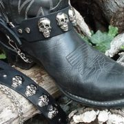 Biker Boots Boot Chains Black Topgrain Cowhide Leather with Cast Skulls