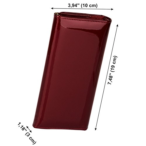 Patent Leather Classic Womens Wallet Card Holder Clutch+5 RFID blocking sleeves