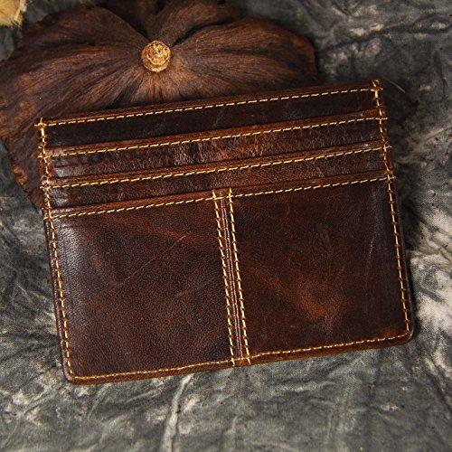 Le'aokuu Genuine Leather Thin Card Case Holder Slim Handy Wallet Front Pocket