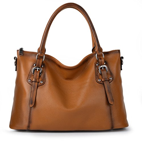 YALUXE Women's Vintage Style Soft Leather Tote Large Shoulder Bag