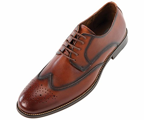 Asher Green Mens Brown Genuine Leather Classic Burnished Wingtip Oxford Dress Shoe : Style Nelson Brown-028