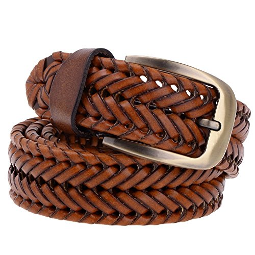 Vbiger Braided Women Belt Woven Belt Genuine Leather Brown and Black
