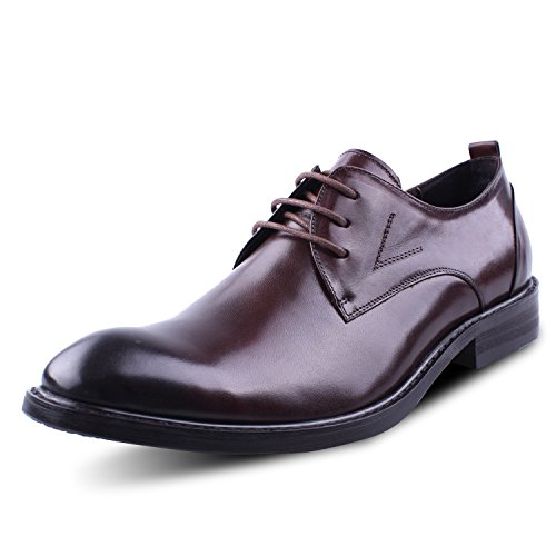 Santimon Men's Genuine Leather Gradient Lace-up Dress Business Oxford Shoes