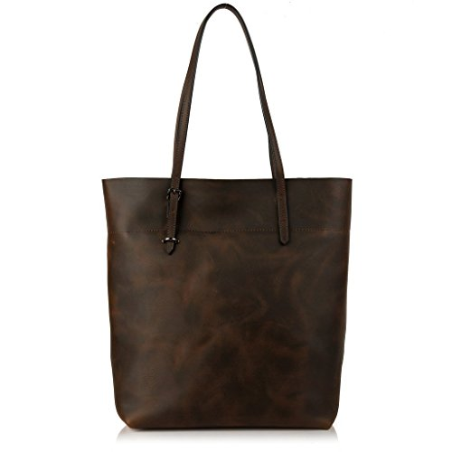YALUXE Women's Vintage Style Crazy Horse Leather Work Tote Shoulder Bag (UPGRADED 2.0)