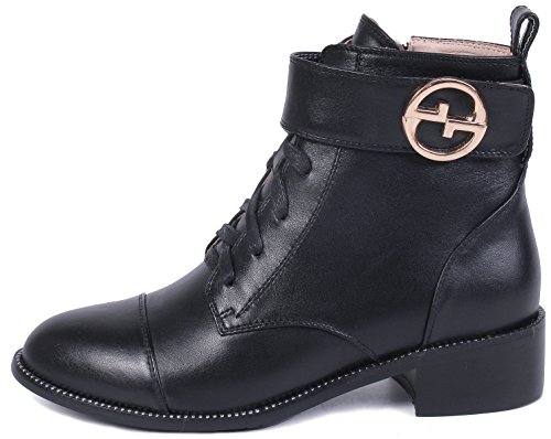 YOUDIFU Women's Military Boots Genuine Leather Lace-up Shoes