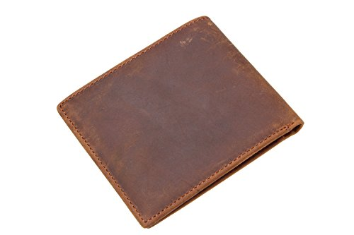 Iblue Men's Vintage RFID Blocking Genuine Leather Slim Bifold Wallet Handmade #W8029