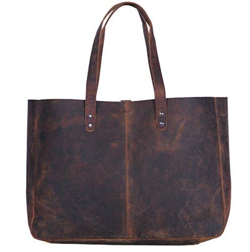 Komalc Genuine Soft Buffalo Leather Tote Bag Elegant Shopper Shoulder Bag **SALE**