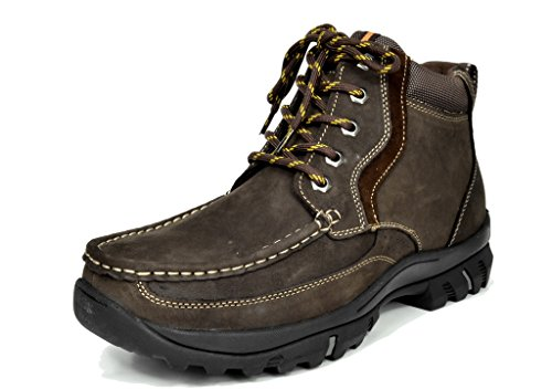 Bruno Marc Men's Genuine Leather Rubber Outsole Classic American 6″ Moc Toe Work Boots
