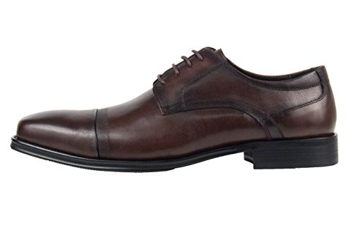 Asher Green Mens Brown Genuine Brushed Calf Leather Cap Toe Lace Up Oxford Dress Shoe: Jessie-065