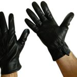 FOWNES Men's Cashmere Lined Black Lambskin/Conductive Leather Gloves
