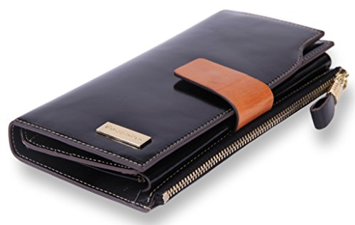 Women's RFID Blocking Wallet Large Capacity Genuine Leather Trifold Purse Organizer with Zipper Pocket phone Clutch