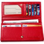Womens Genuine Leather RFID Blocking Wallet, Ladies Slim RFID Billfold, Black