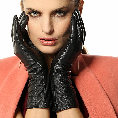 Women's Lambskin Touchscreen Texting Leather Gloves Winter Lined Long Sleeves for Iphone Smartphone